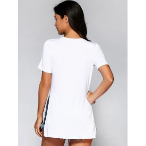 Short Sleeve High Low Hem T-Shirt - WHITE XL