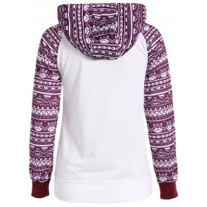 Printed Big Pocket Pullover Hoodie - WHITE XL