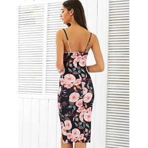 Floral Sleeveless Backless Pencil Dress - COLORMIX XL