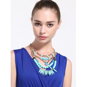 Alloy Geometric Water Drop Beaded Necklace -