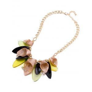 Rhinestone Alloy Beads Flower Necklace - TAN