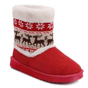 Knitted Snowflake Deer Flock Snow Boots -