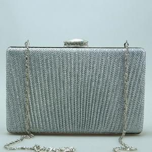 Glittering Clip Rhinestone Chains Pleated Evening Bag -