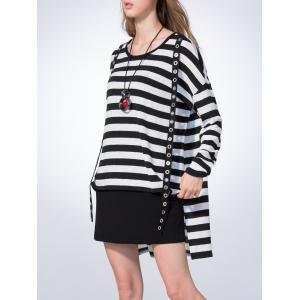 Loose Striped High-Low T-Shirt and Straight Dress -