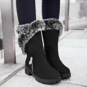Suede Faux Fur Zipper Mid Calf Boots - BLACK 39