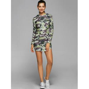 Hooded Long Sleeve Camo Bodycon Dress - CAMOUFLAGE L