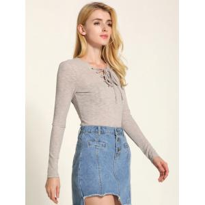 Long Sleeve Front Lace Up Knitwear - GRIEGE M