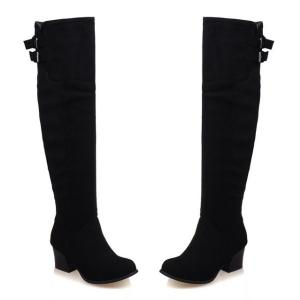Zipper Double Buckle Suede Thigh Boots -