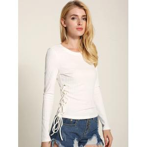 Long Sleeve Side Lace Up Knitwear - WHITE M