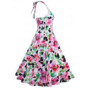 Halter High-Waisted Floral Swing Shirred A Line Dress -