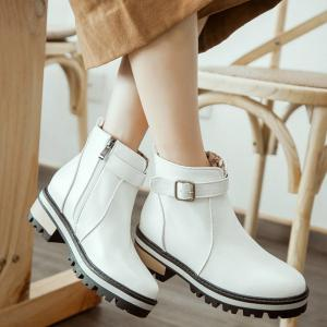 Belt Buckle PU Leather Short Boots -