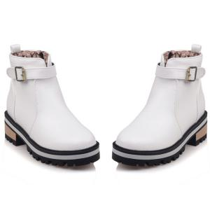 Belt Buckle PU Leather Short Boots - WHITE 39