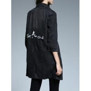 Denim Buttoned Letter Print Trench Coat -