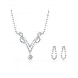 Rhinestoned Floral Geometric Wedding Jewelry Set -