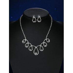Rhinestoned Water Drop Bridal Jewelry Set -