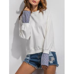 Stripe Spliced Loose Sweatshirt -