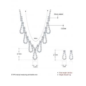 Rhinestoned Water Drop Wedding Jewelry Set - SILVER