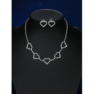 Rhinestoned Heart Wedding Jewelry Set -