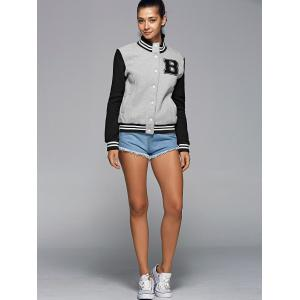 Active Stand Neck Color Block Baseball Jacket -