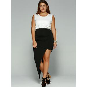 Casual Sleeveless Asymmetrical Plus Size Dress -