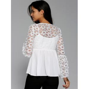 Flare Sleeve Floral Smock Blouse -