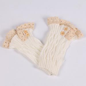 Lace Edge Buttons Rhombus Knitted Boot Cuffs - WHITE