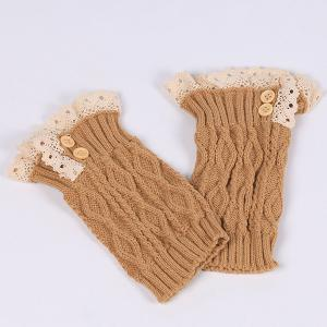 Lace Edge Buttons Rhombus Knitted Boot Cuffs - ANTIQUE BROWN