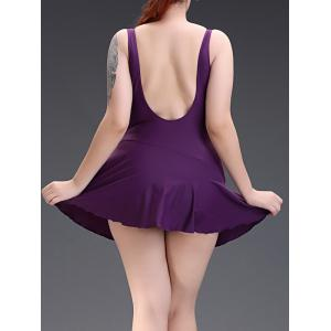 Geometric Open Back Swimsuit with Skirt - PURPLE 5XL