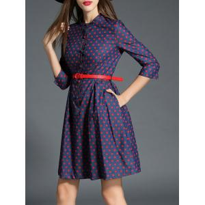 Polka Dot Buttoned Belted Denim Dress -