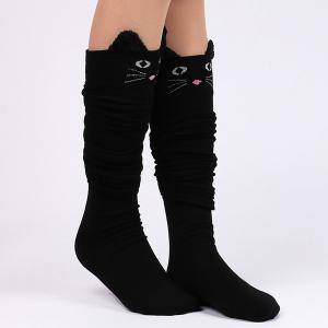 Cute Cartoon Cat Thicken Winter Leg Warmer - BLACK