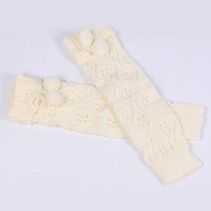 Flanging Small Ball Infinity Knitted Leg Warmers - WHITE