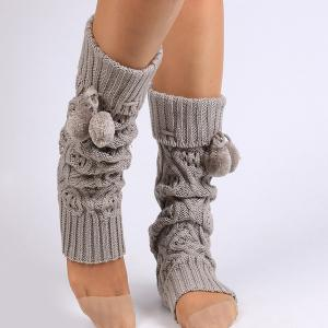 Flanging Small Ball Infinity Knitted Leg Warmers - GRAY
