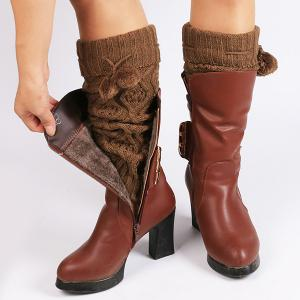 Flanging Small Ball Infinity Knitted Leg Warmers - GOLD BROWN