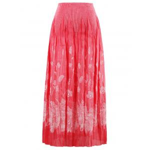 Floral Pleated Strapless Bandeau Cocktail Dress - WATERMELON RED ONE SIZE
