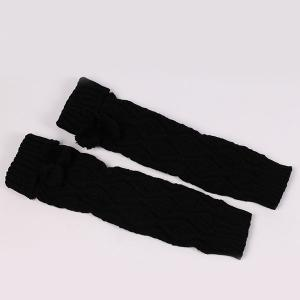 Flanging Small Ball Infinity Knitted Leg Warmers - BLACK