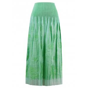 Smocked Embroidered Tube Midi Strapless Dress - APPLE GREEN ONE SIZE