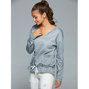 Active Long Sleeve Pockets Hoodie - GRAY XL