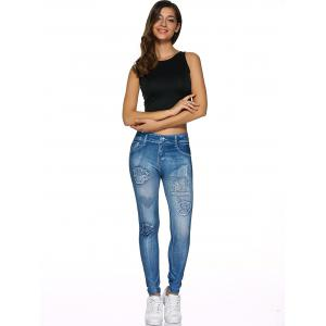 Spliced Faux Jeans Fit Leggings - DENIM BLUE ONE SIZE