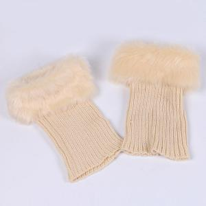 Thicken Faux Fur Edge Knitted Boot Cuffs - OFF WHITE