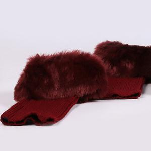 Thicken Faux Fur Edge Knitted Boot Cuffs - DEEP RED