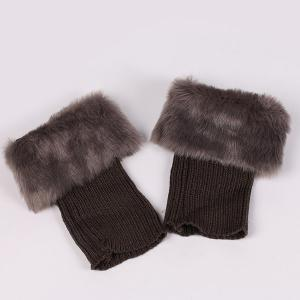 Thicken Faux Fur Edge Knitted Boot Cuffs -