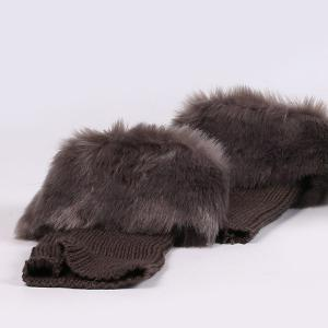 Thicken Faux Fur Edge Knitted Boot Cuffs - GRAY