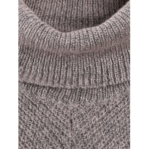 Turtle Neck Long Sleeve High Low Pullover Sweater -