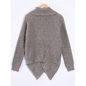 Turtle Neck Long Sleeve High Low Pullover Sweater - GRAY ONE SIZE