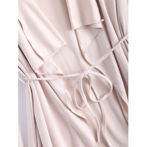 Drape Neck Frosted Belt Design Coat -