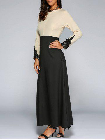 Store Long Sleeve Lace Panel Arabic Maxi Dress BLACK XL