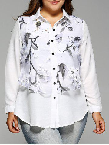 Trendy Plus Size Long Sleeve Floral Print Faux Twinset Shirt WHITE 5XL