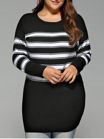 Sale Stripe Plus Size Bodycon Sweater Dress BLACK 5XL