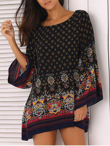 Trendy Ornate Printed Shift Dress With Sleeves BLACK M