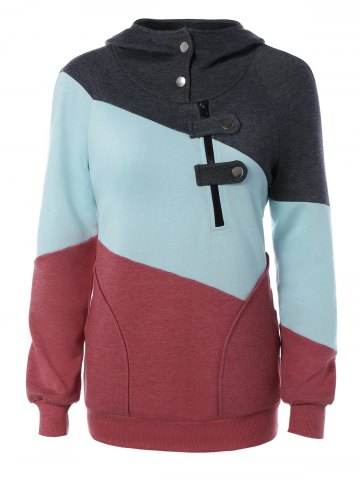 Affordable Long Sleeve Patchwork Pullover Hoodie COLORMIX XL